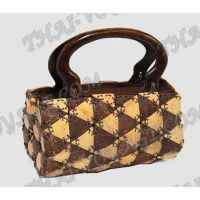 Handbag Handmade coconut with wooden handles - TV000281