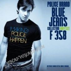 Männer T-Shirt Police Art-Nr F358 Blue Jeans - TV001389
