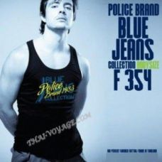 Men's T-shirt Police Art No. F354 Blue Jeans - TV001393