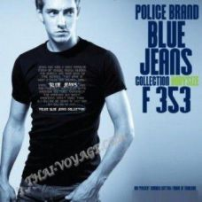 Мужская футболка Police Art No. F353 Blue Jeans - TV001394