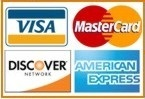 Payment via bank cards Visa, MasterCard, American Express, Discover
